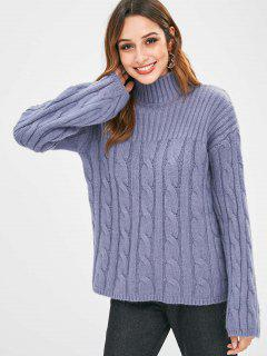 Ribbed Cable Knit High Collar Sweater - Slate Blue