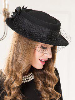 Flourishing Floral Mesh Tea Party Hat - Black