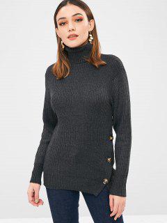 Turtleneck Buttoned Split Sweater - Carbon Gray L