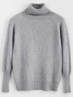 Soft Touch Turtleneck Sweater - Light Gray
