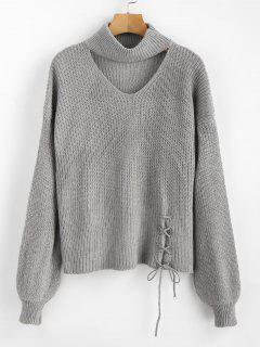 Lace Up Plain Keyhole Sweater - Gray
