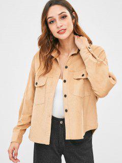 Corduroy Shirt Jacket With Pocket - Camel Brown M
