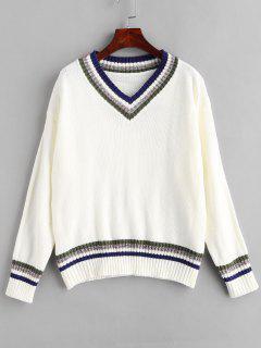 Streifen V-Ausschnitt Shiny Thread Sweater - Weiß