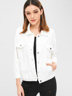 Button Up Plain Pockets Jacke - Weiß