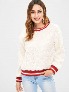 Fluffy Faux Fur Pullover Sweatshirt - Warm White L