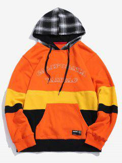 Plaid Cap Patchwork Pullover Hoodie - Pumpkin Orange Xl