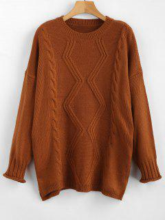 Drop Shoulder Cable Knit Slit Sweater - Light Brown