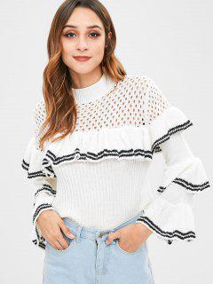 Flare Ärmel Rüschen Streifen Pullover - Weiß