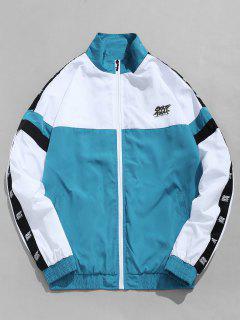 Side Letter Stripe Contrast Windbreaker Jacket - Blue Ivy 2xl