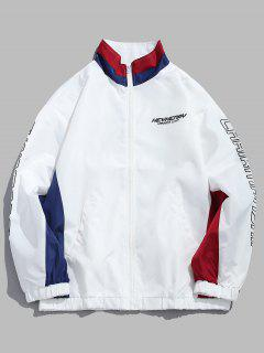 Casual Letter Printed  Zipper Wind Jacket - White M