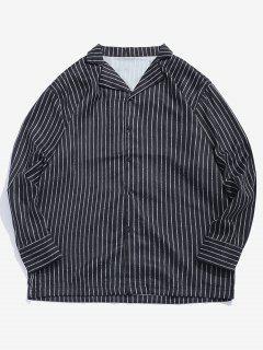 Chemise Rayé Classique à Col Cranté - Noir M