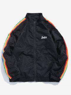 Side Rainbow Stripe Windbreaker Jacket - Black Xl