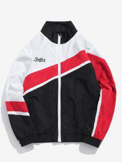 Casual Zipper Color Block Windbreaker Jacket - Black Xl