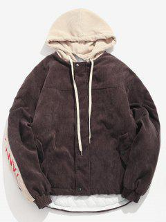 Contrast Letter Corduroy Quilted Jacket - Coffee Xl