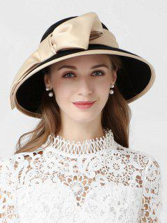Vintage Large Bowknot Church Hat - Champagne