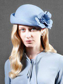 Flourishing Floral Woolen Beret - Light Blue