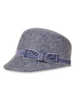 Bowknot Woolen Bucket Hat - Light Slate Gray