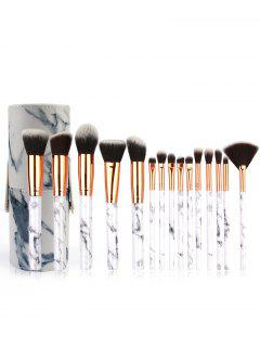 Cosmetic 15 Pcs Marble Handle Fiber Hair Makeup Kit With Brush Bucket - Platinum