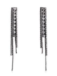 Faux Crystal Tassel Design Earrings - Black