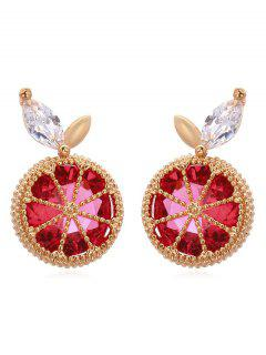 Faux Ruby Lemon Stud Earrings - Red