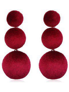 Balls Design Long Drop Earrings - Ruby Red