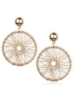 Hollow Round Shape Alloy Earrings - Gold