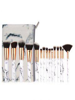 15 Marble Handles Fiber Hair Makeup Brush Kit With Brush Bag - Platinum