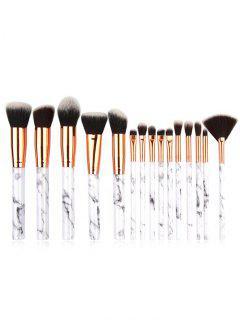 Cosmetic 15 Pcs Marble Handles Eyeshadow Blush Powder Fan Brush Set - Platinum