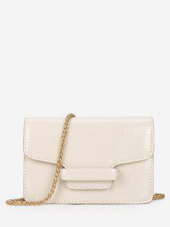 Patent Leather Design Link Chain Shoulder Bag - Milk White