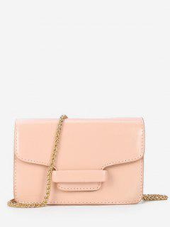 Patent Leather Design Link Chain Shoulder Bag - Light Pink