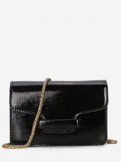 Patent Leather Design Link Chain Shoulder Bag - Black