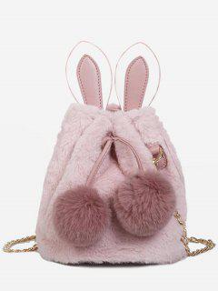 Fluffy Ball Design Bucket Crossbody Bag - Pink