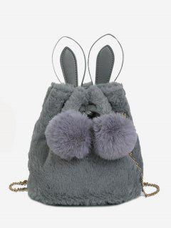 Fluffy Ball Design Bucket Crossbody Bag - Gray