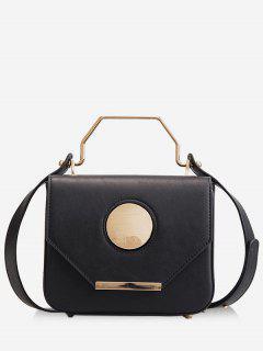 Round Pattern PU Leather Design Magnet Tote Bag - Black