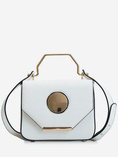 Round Pattern PU Leather Design Magnet Tote Bag - White