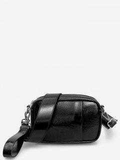 PU Leather Solid Color Design Shoulder Bag - Black