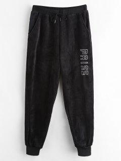 Letter Embroidered Fleece Jogger Pants - Black