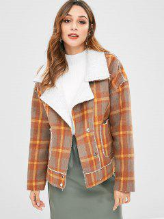 Plaid Snap Button Wool Blend Coat - Multi