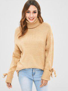 Bow Turtleneck Drop Shoulder Sweater - Tan S