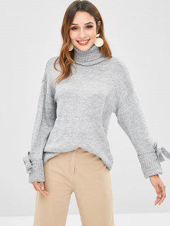 Bow Turtleneck Drop Shoulder Sweater - Gray Cloud L