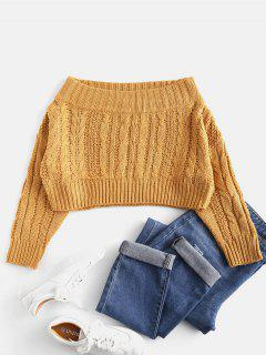 Chunky Cable Knit Off Shoulder Sweater - Mustard