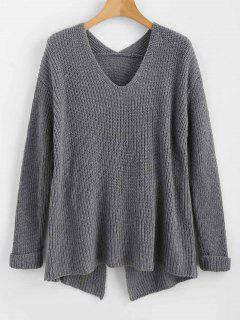 Buttoned Criss Cross V Neck Sweater - Gray