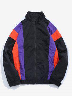 Retro Contrast Stripe Windbreaker Jacket - Black M