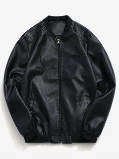Hojas Bordadas Impresión Zip PU Chaqueta - Negro Xs