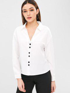 Camisa De Botones De Corte Bajo - Blanco M