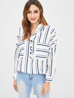 Tunika Striped Slit Bluse Mit Tasche - Multi S