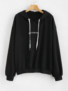 Letter Embroidered Plus Size Hoodie - Black 4x