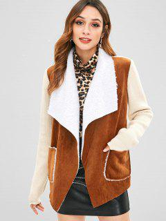 Knitted Faux Suede Pocket Jacket - Brown S