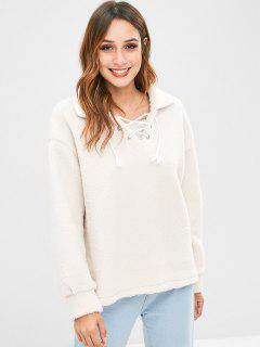 Lace Up Faux Fur Sweatshirt - Warm White