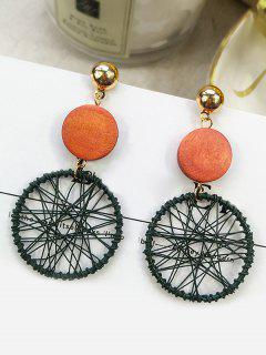 Geometric Design Round Shape Earrings - Green